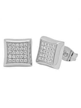 Men's Stainless Steel CZ Stud Earrings - Mens Accessory