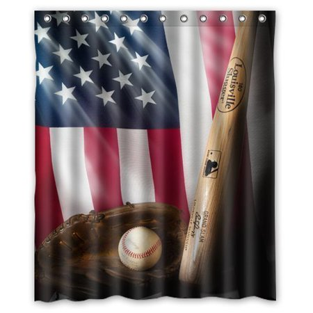 HelloDecor American Flag And Baseball Shower Curtain Polyester Fabric Bathroom Decorative Size 60x72 Inches