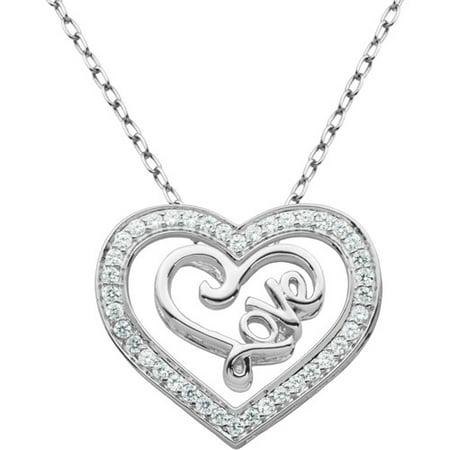 Cubic Zirconia Set Necklace (.61 Carat T.G.W. White CZ 2-Piece Sterling Silver