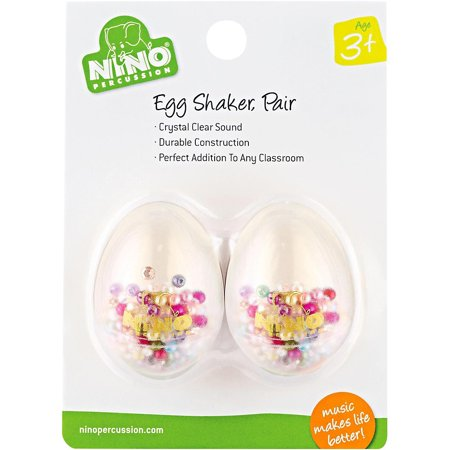 - Nino Transparent Plastic Egg Shaker Pair with Multi-Colored Filling