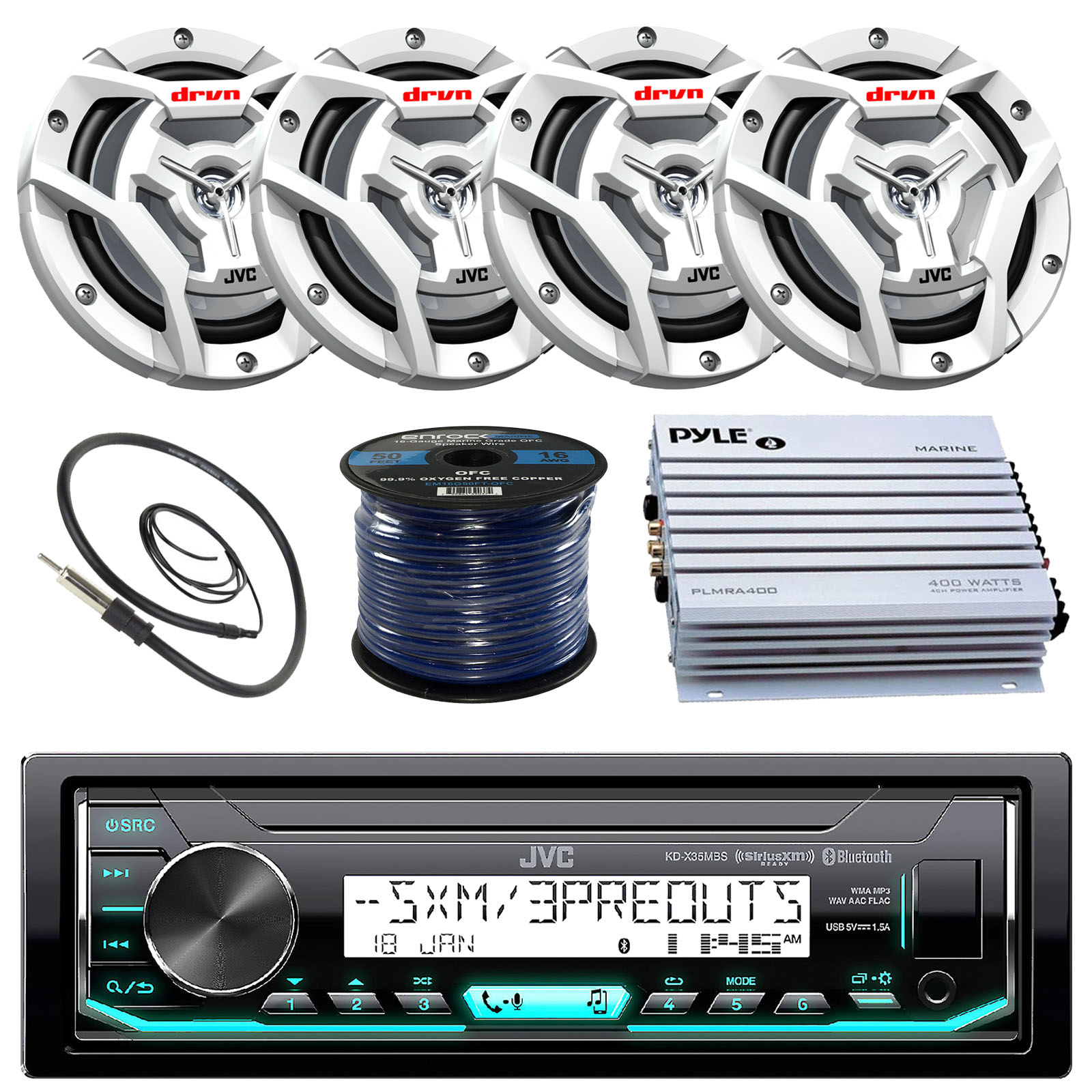 JVC KDX35MBS Marine Boat Yacht Radio Stereo MP3 Player Receiver Bundle Combo