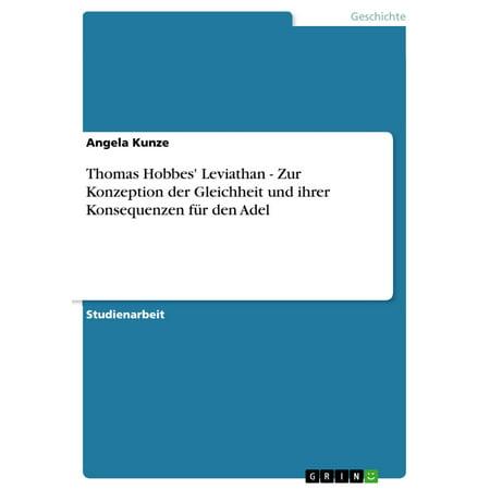 Thomas Hobbes' Leviathan - Zur Konzeption der Gleichheit und ihrer Konsequenzen für den Adel - eBook