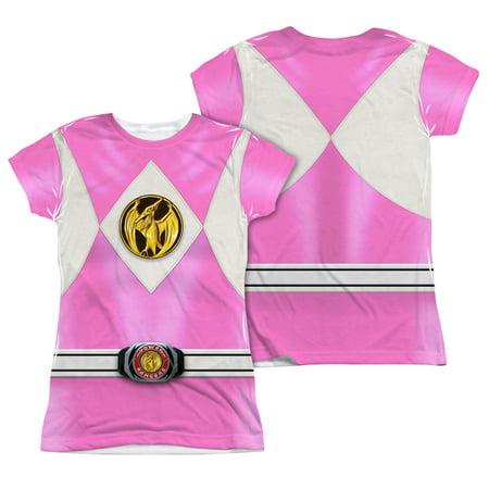 Pink Ranger Shirt (Power Rangers - Pink Ranger Emblem (Front/Back Print) - Juniors Cap Sleeve Shirt -)