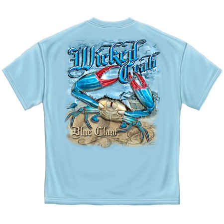 Fishing T-Shirt Wicked Fish Blue Claw Crab Salt Water Fishing Large