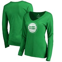 Detroit Pistons Fanatics Branded Women's St. Patrick's Day White Logo Long Sleeve V-Neck T-Shirt - Green
