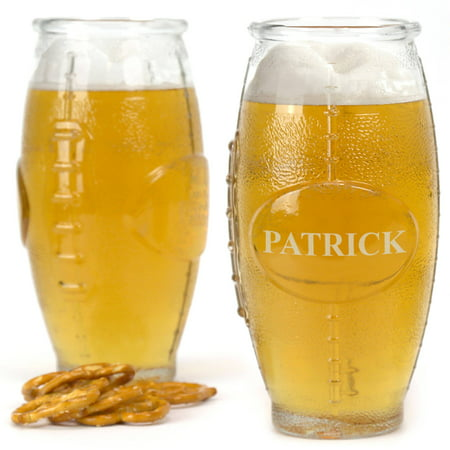 Personalized Football Shaped Beer Glass, 16 (Personalized Glassware)