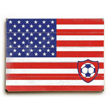 Artehouse Decorative Wood Sign  Us Flag With Soccer Ball  By Artist Peter Horjus  12  X 16   Planked Wood