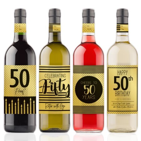 Gold Foil 50th Birthday Wine Labels, 4ct - Black and Gold Stripe and Polka Dot Birthday Party Supplies - 4 Wine Bottle Stickers with Gift Tags