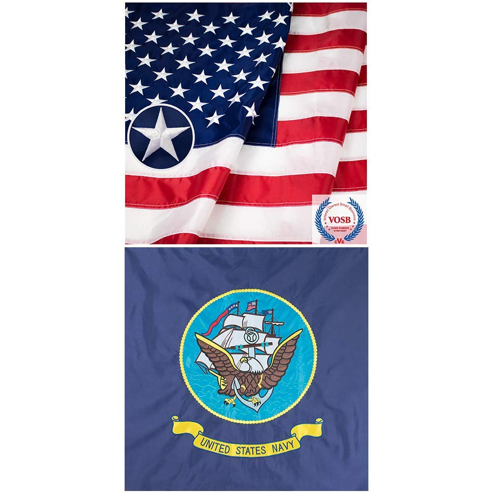 Jetlifee American Flag 3X5 Ft and 3x5 Ft US Navy Flags Embroidered Flags by US Veteran Owned Biz. (2 Pack)