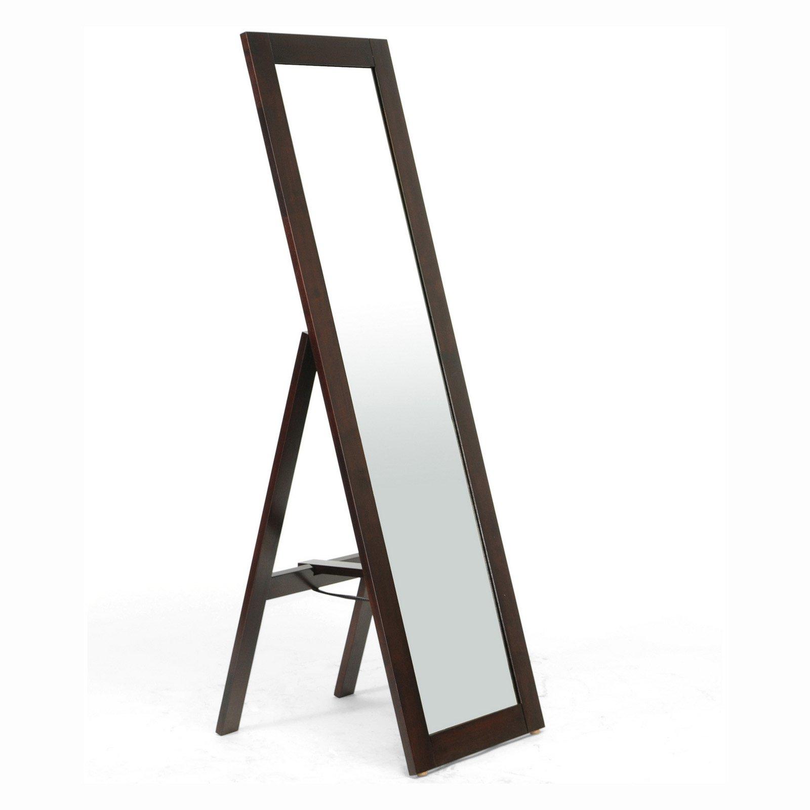 Baxton Studio Lund Wood Modern Mirror with Built-In Stand, Dark Brown