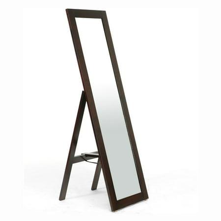 Baxton Studio Lund Wood Modern Mirror with Built-In Stand, Dark Brown ()