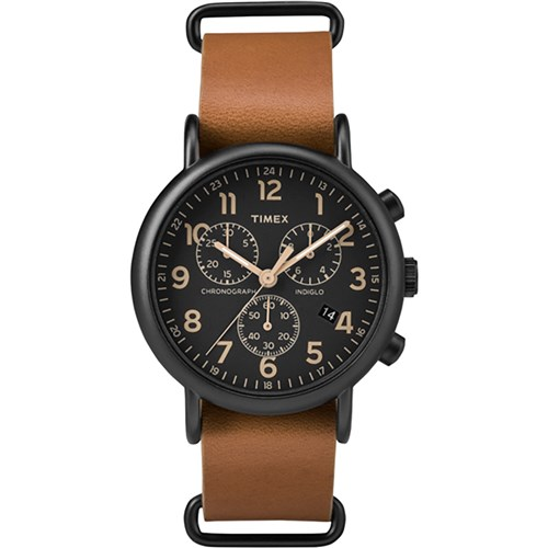 """Timex Weekender Chrono Oversized Watch Black Dial Brown Strap Weekender Chrono Brown Strap Black Dial Watch"" by Timex"