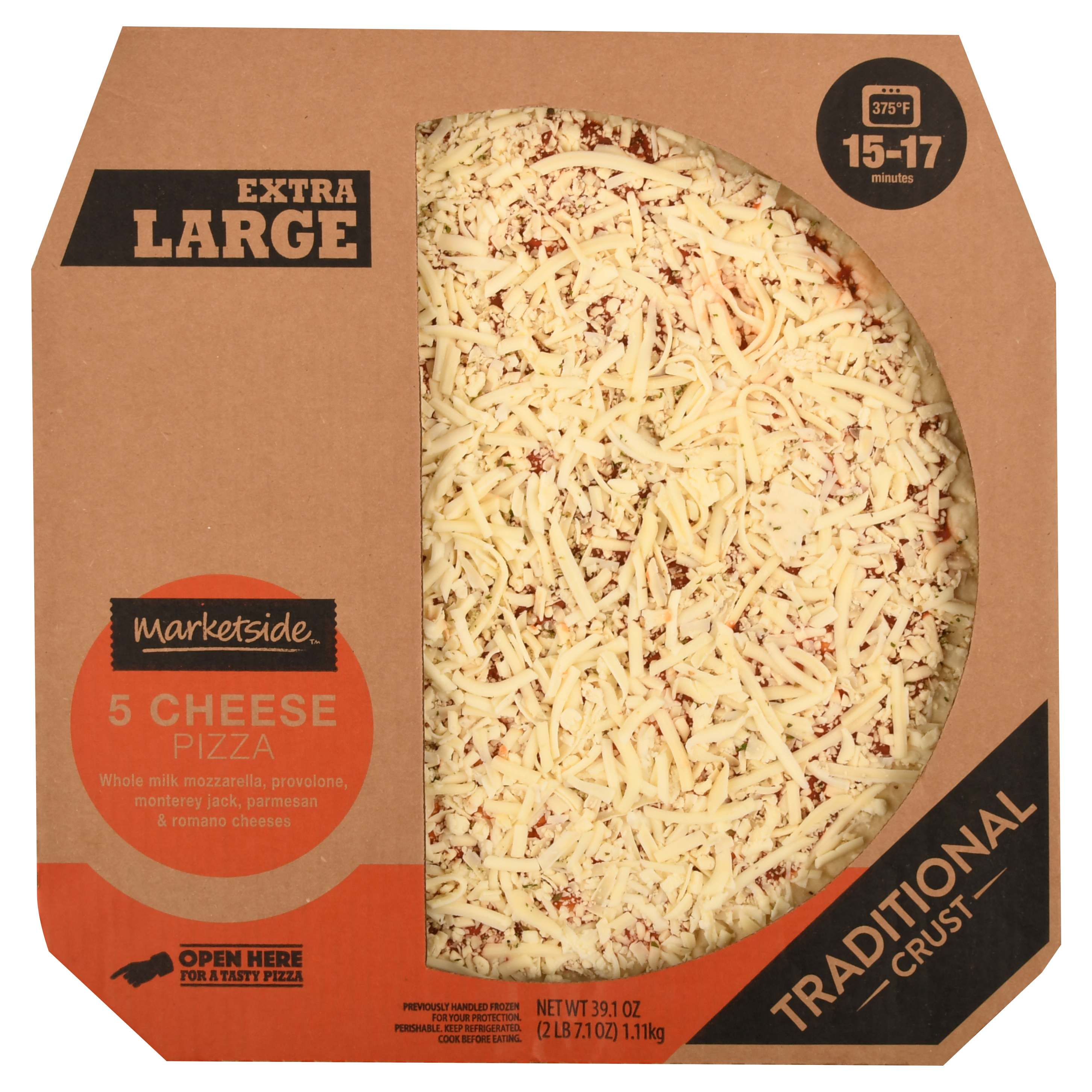 Marketside Traditional Crust 5 Cheese Pizza, Extra Large, 39.1 oz