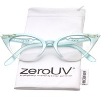 7456e84ffab7 Product Image zeroUV - Women s Retro Rhinestone Embellished Clear Lens Cat  Eye Glasses 51mm - 51mm