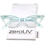 zeroUV - Women's Retro Rhinestone Embellished Clear Lens Cat Eye Glasses 51mm - 51mm