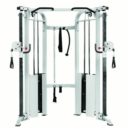 - XMark Functional Trainer Cable Machine with Dual 200 lb Weight Stacks, 19 Adjustments, and an UPGRADED Accessory Package (White)