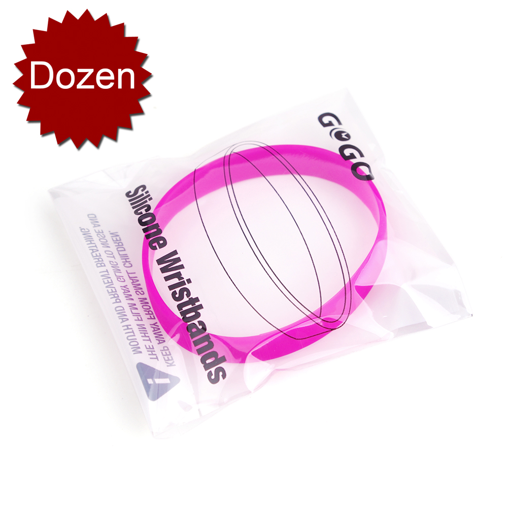 GOGO 12PCS Silicone Wristbands, Adult Rubber Bracelets, Party Accessories-Hotpink
