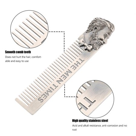 Ejoyous Gentleman Shape Stainless Steel Portable Pocket Beard Shaving Comb Mustache Hair , Portable Beard Comb, Shaving Comb - image 2 of 8