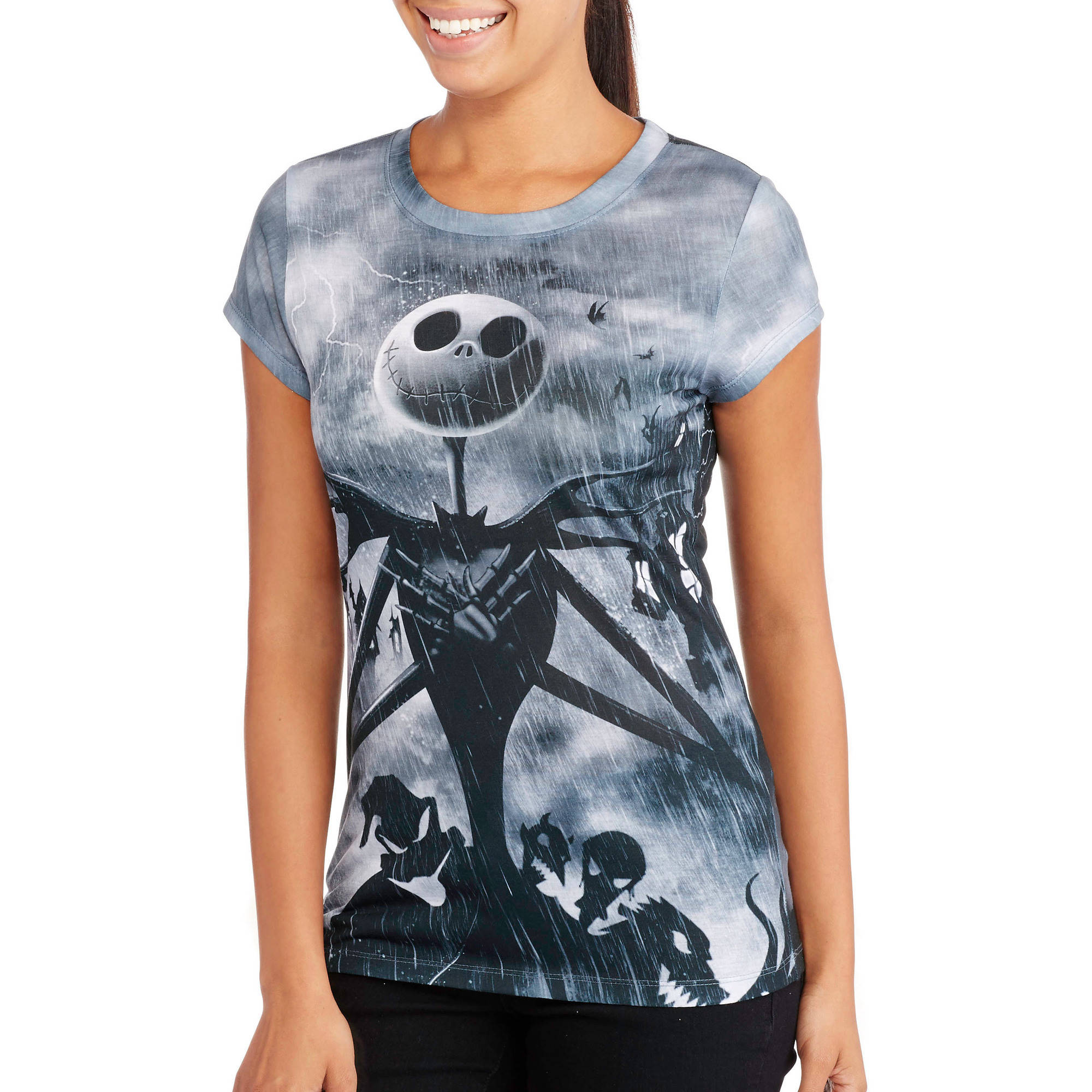 license juniors short sleeve sublimated halloween tee nightmare before christmas disney walmartcom