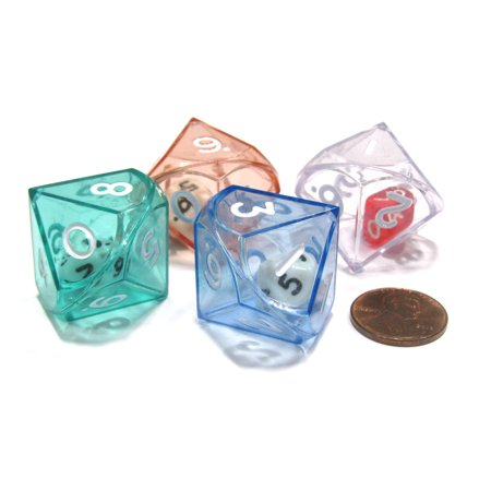Koplow Games Set of 4 D10 26mm Double Dice, 2-In-1 Dice - 1 Each of Green Red Blue Clear #1259x