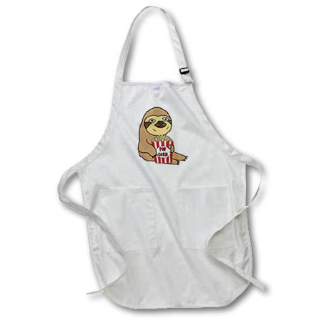 Cute Popcorn (3dRose Funny Cute Sloth Eating Popcorn Cartoon - Full Length Apron, 22 by 30-inch, Black, With)