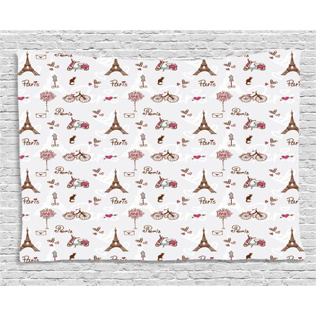 Redwood City Events (Paris Tapestry, Romance Language Capital of Love Eiffel Heart Fashion City Girlish Print, Wall Hanging for Bedroom Living Room Dorm Decor, 60W X 40L Inches, Redwood Pearl Pink, by)