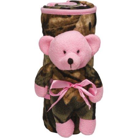 d7cc809f3407e Trail Crest Pink & Camo Receiving Blanket & Plush Bear - Walmart.com