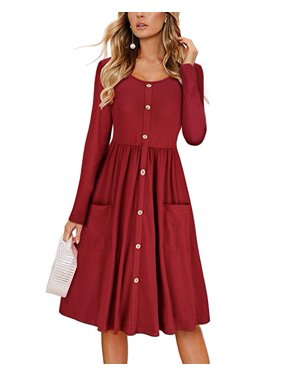 e96574a92b82 Product Image Women s Dresses Long Sleeve Casual Button Down Swing Dress  with Pockets