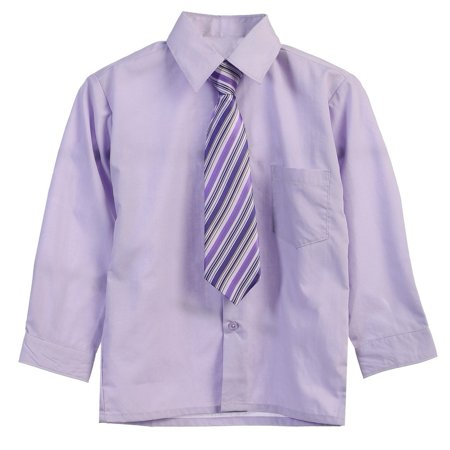 Little Boys Lilac Tie Long Sleeve Button Special Occasion Dress Shirt 2T-7](Little Boy Dress Up Clothes)