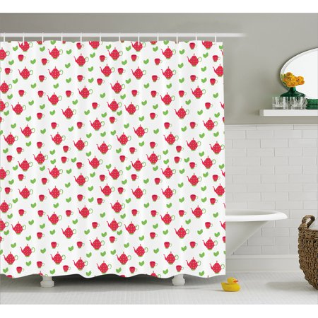 Tea Party Shower Curtain, Teapots with Polka Dots and Leaves Tea Time Image Beverage British Design, Fabric Bathroom Set with Hooks, 69W X 70L Inches, Dark Coral Green, by Ambesonne for $<!---->