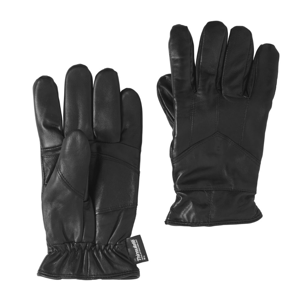 Mens Black Touchscreen Compatible Leather Thinsulate Texting Gloves