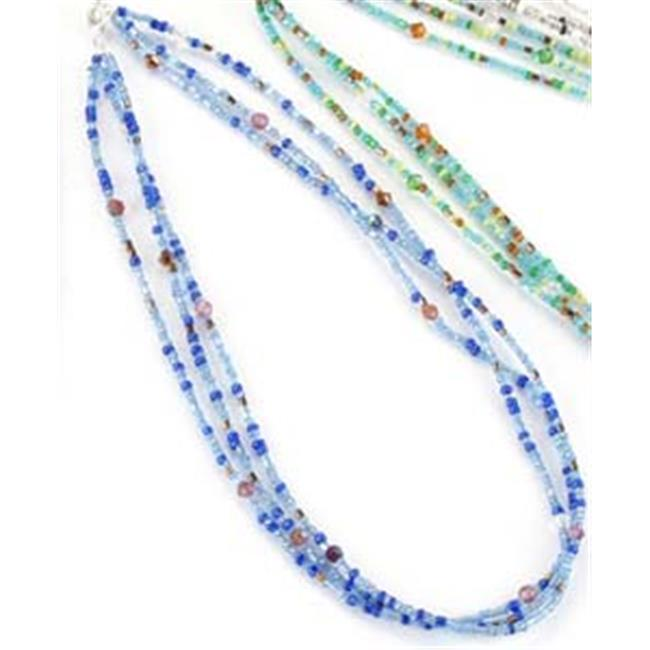 Unison Gifts KA-4842Z Sapphire Multi Glass Bead Chain Necklace Gemstone, Set of 3, 18 in.