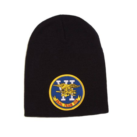 Delux Military 3D Patch Embroidery short Black Beanie US Navy Seal