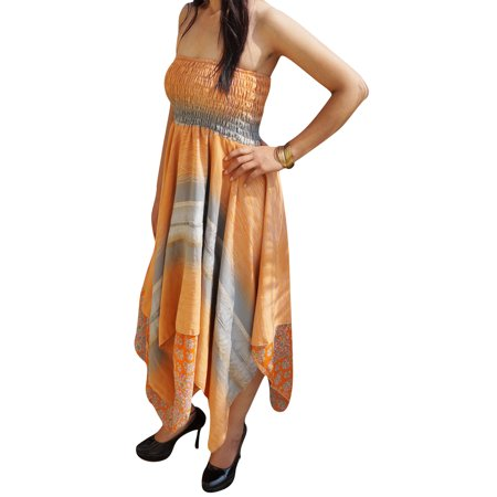 Mogul Womens Vintage Halter Recycled Sari Dress Handkerchief Hem Two Layer Printed Summer Resort Fashion Sundress S/M