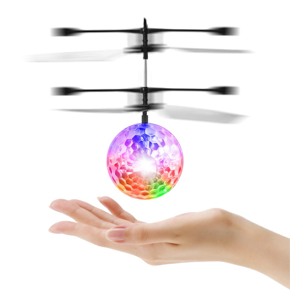 Infrared Induction Flying Flash Disco Colorful LED Ball Helicopter Child Toy,black