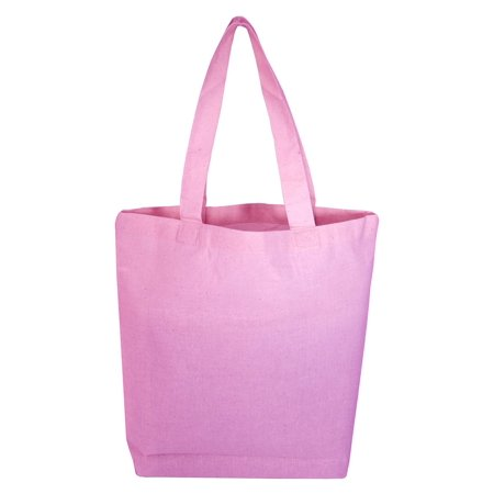 (3 Pack) Set of 3 High Quality Cotton Tote Bags Wholesale with Bottom Gusset (Light Pink) (Gusset Tote)