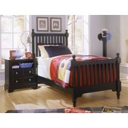 Youth Slat Poster Bed w Nightstand in Black Finish (Twin)