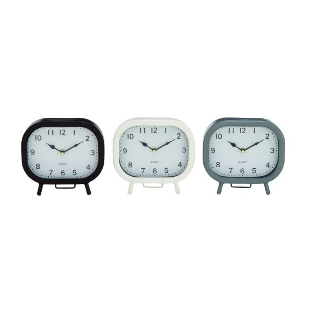 "Metal Table Clock 3 Assorted 8""W, 7""H, Black, White, Gray by Benzara"