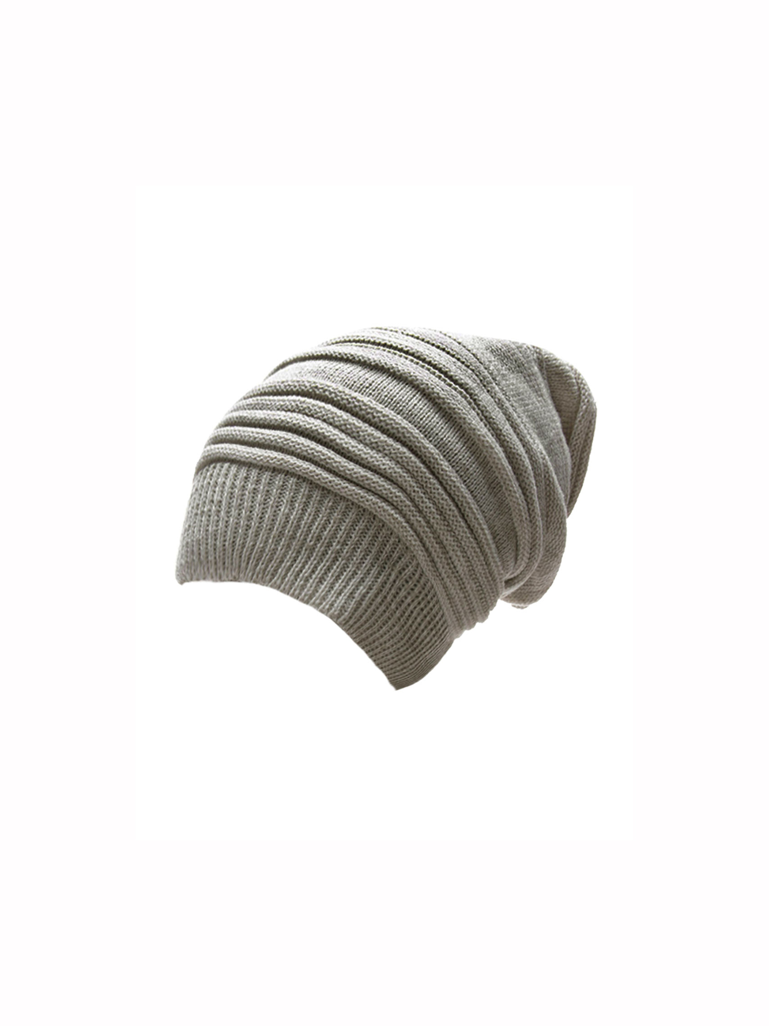 Men's Casual Style Hand Knitting Ribbed Beanie Hat White Light Gray