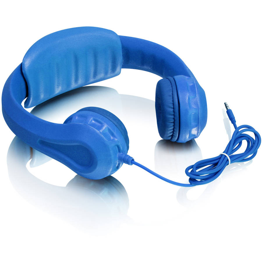 Aluratek Volume-Limiting Wired Foam Headphones for Children, Blue