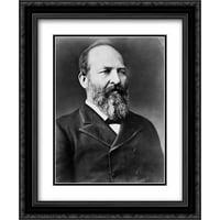 President James A. Garfield, half-length portrait, facing right 20x24 Double Matted Black Ornate Framed Art Print