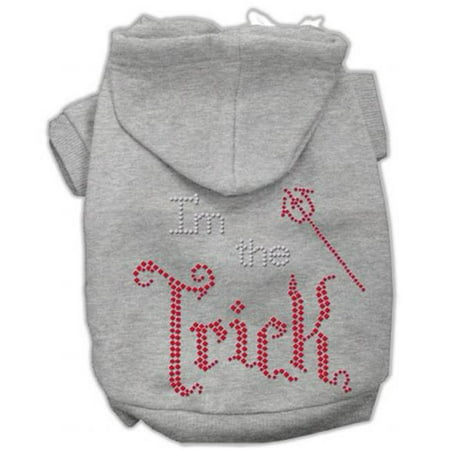Mirage Pet Products54-90 XXXLGY I Am The Trick Rhinestone Hoodies, Grey - 3XL