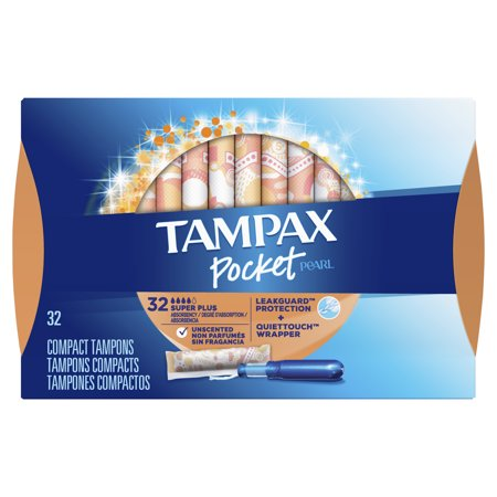 TAMPAX Pocket Pearl, Super Plus, Plastic Tampons, Unscented, 32 Count