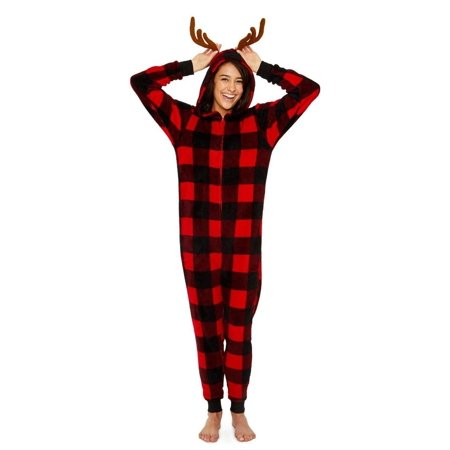 Secret Santa Women's Buffalo Check with Antlers Long Sleeve One Piece Pajama Onesie, Buffalo Plaid, Buffalo Check, Size: S](Plaid Onesie)