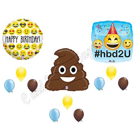 EMOJI EMOTICON POO Happy Birthday Party Balloons Decoration Supplies Turd