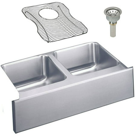 Elkay ELUHF332010DBG Gourmet Lustertone Stainless Steel Double Bowl Apron Front Undermount Sink Kit