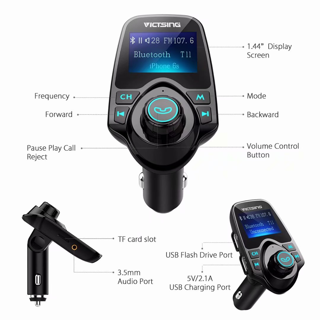 VicTsing FM Transmitter Aux Output and Input Bluetooth FM Transmitter Radio Adapter Car Kit with 5V 2.1A USB Car Charger MP3 Player Support TF Card USB Flash Drive Black