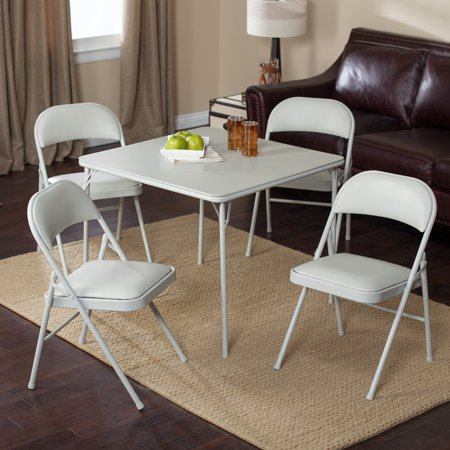 Meco Sudden Comfort Deluxe Double Padded Chair And Back   5 Piece Card Table Set   Grey Dream