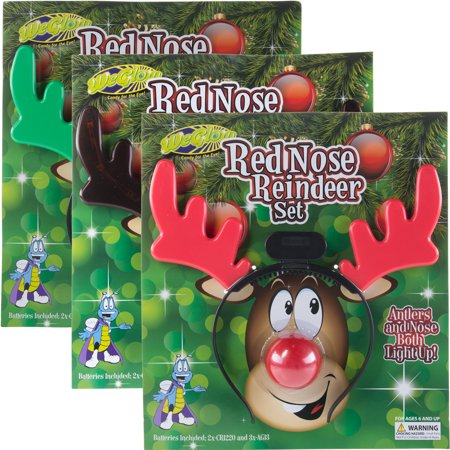 WeGlow (3 Pack) Light Up Reindeer Rudolph Red Nose & Antlers Headband Set Christmas Costume