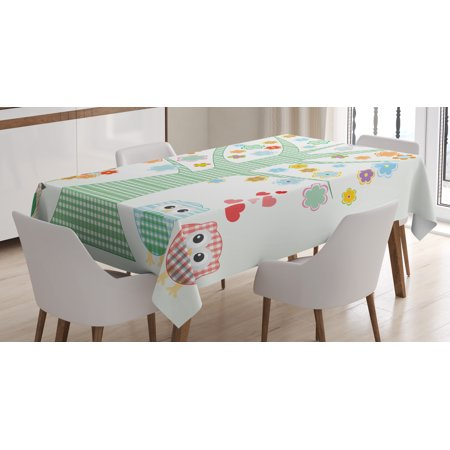 Nursery Tablecloth, Romantic Owls In Love and Big Tree with Colorful Blossoms Bird Bouquet, Rectangular Table Cover for Dining Room Kitchen, 52 X 70 Inches, Mint Green Multicolor, by Ambesonne